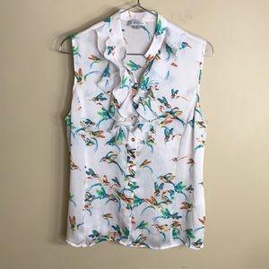 Tahari sleeveless button down bird print top